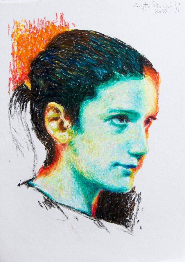 Anita, studio, pastelli ad olio su carta