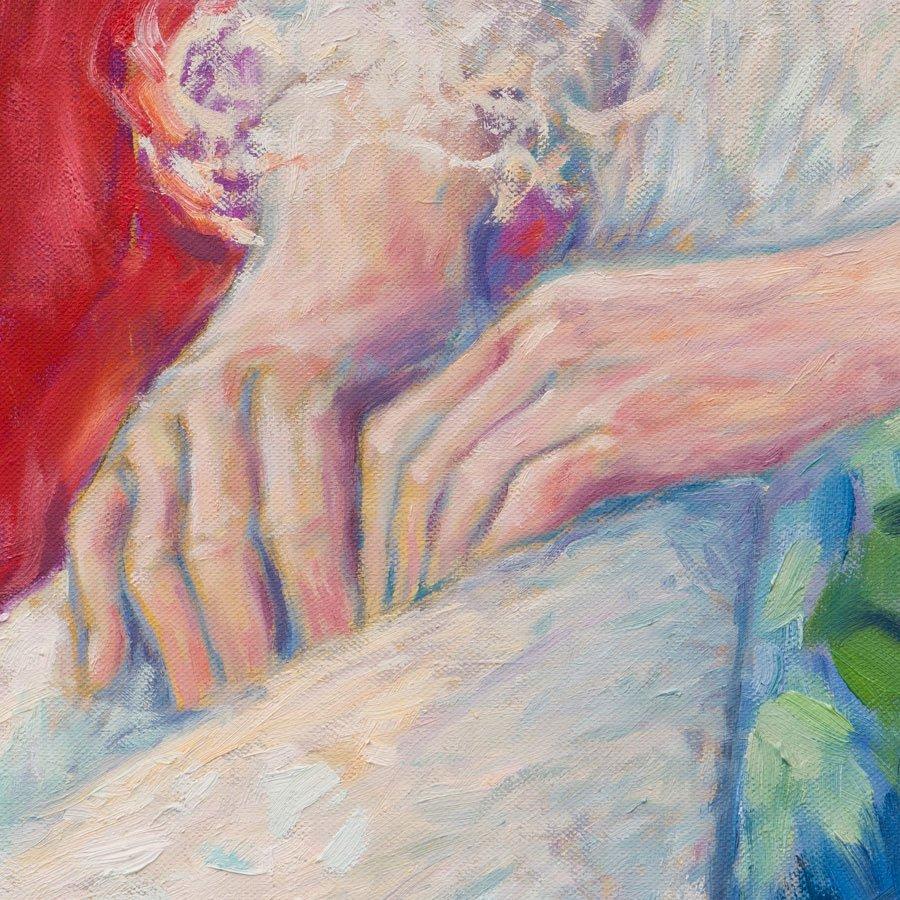 Ritratto di Francesca Trevisan, particolare delle mani, olio su tela, cm. 150 x 80