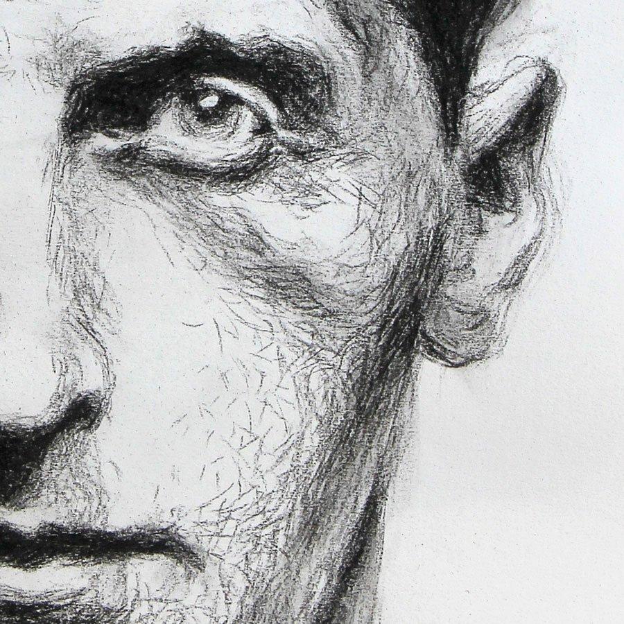 Ludwig Wittgenstein, studio particolare, matita carboncino su carta, cm. 56 x 44