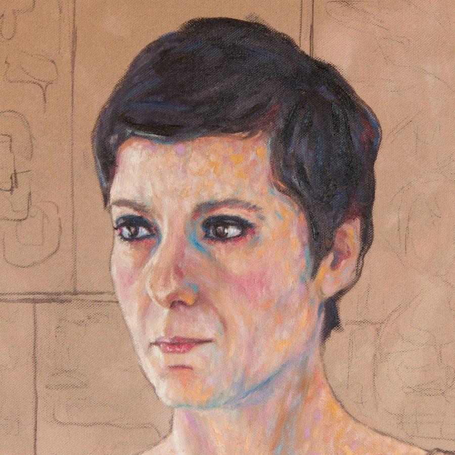 Ritratto di Patrizia Greco, particolare del volto in lavorazione