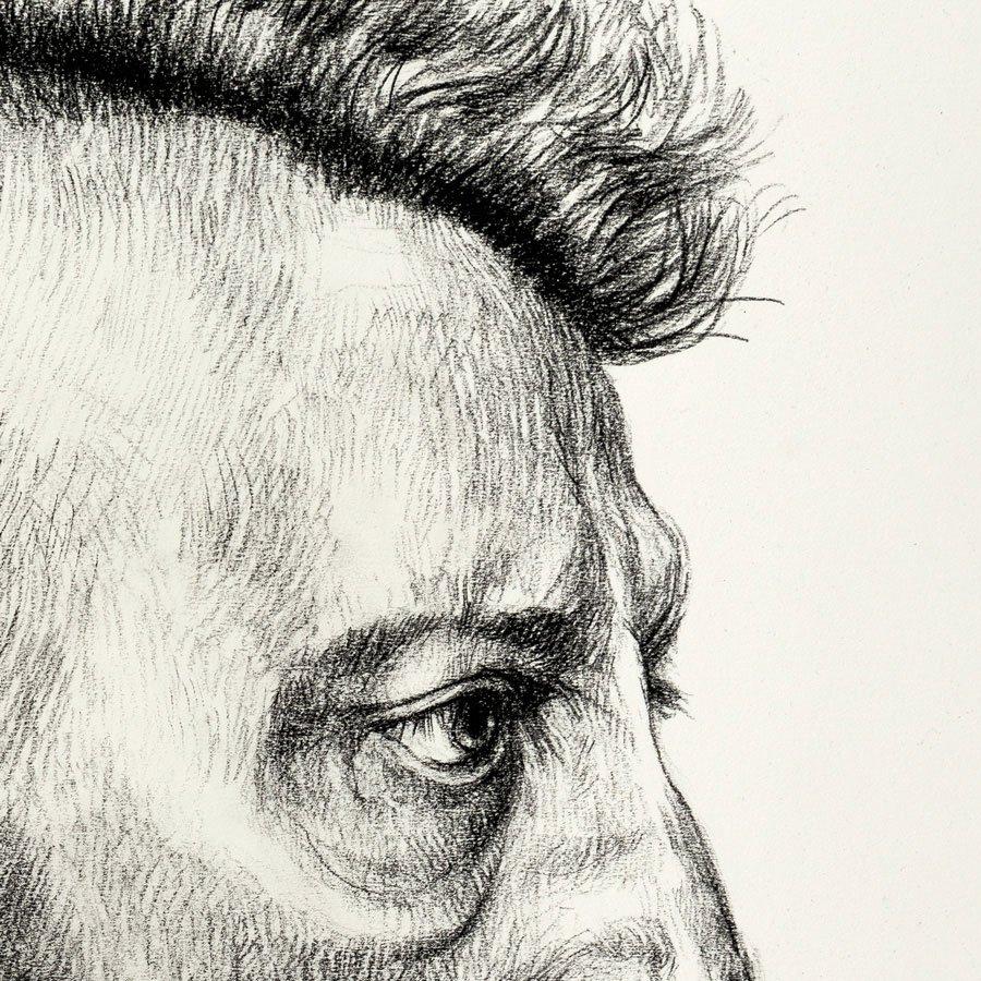 Post-Punk, particolare, matita carboncino su carta, cm. 56 x 44