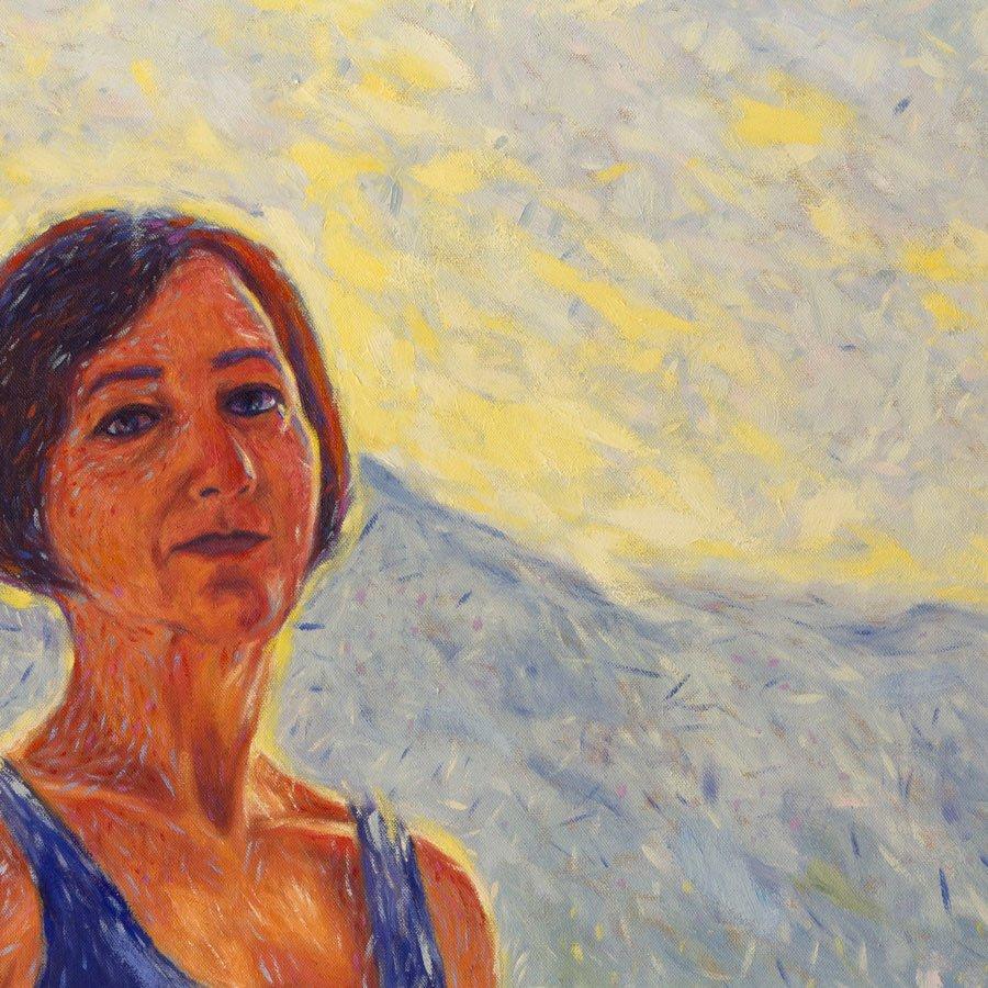 Ritratto di Giuseppina Segala, particolare del Monte Baldo