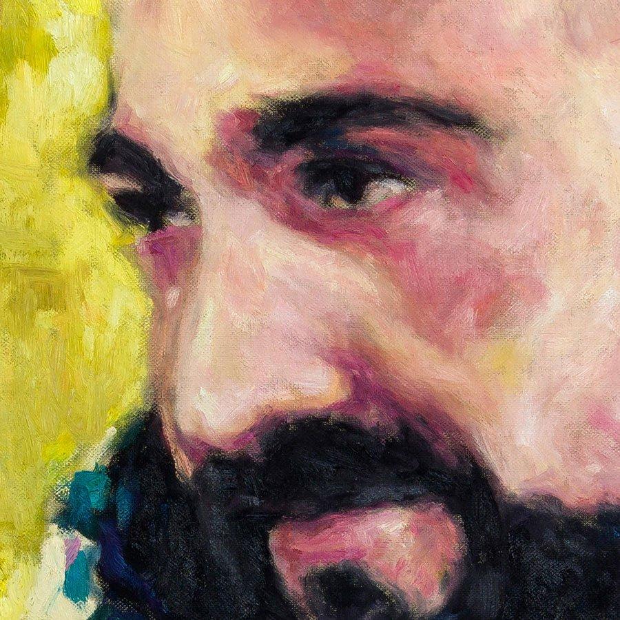 Ritratto di Stefano Brazioli, particolare del volto, olio su tela 70 x 70