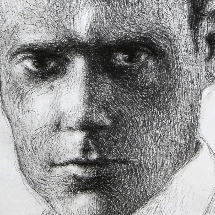 Sandro Pertini particolare, matita carboncino su carta, cm. 56 x 44