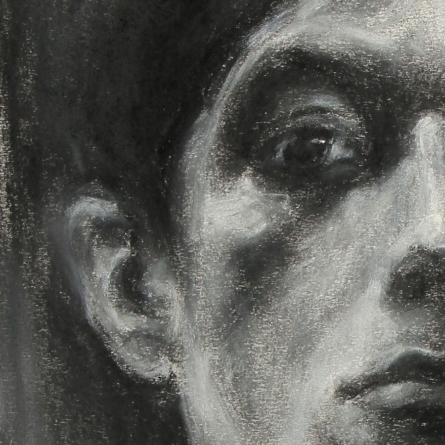 Studio Maschile, particolare, carboncini su carta, cm. 56 x 44