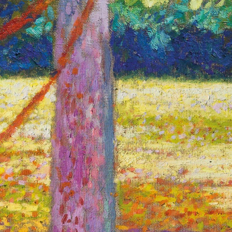 Toscolano paesaggio mattutino, particolare, olio su lino, cm. 80 x 80