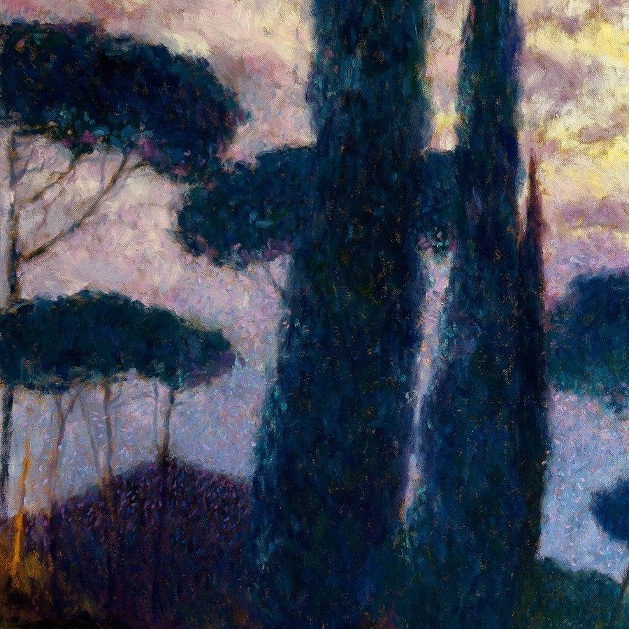 Tramonto sull'Appia Antica, particolare dei pini marittimi