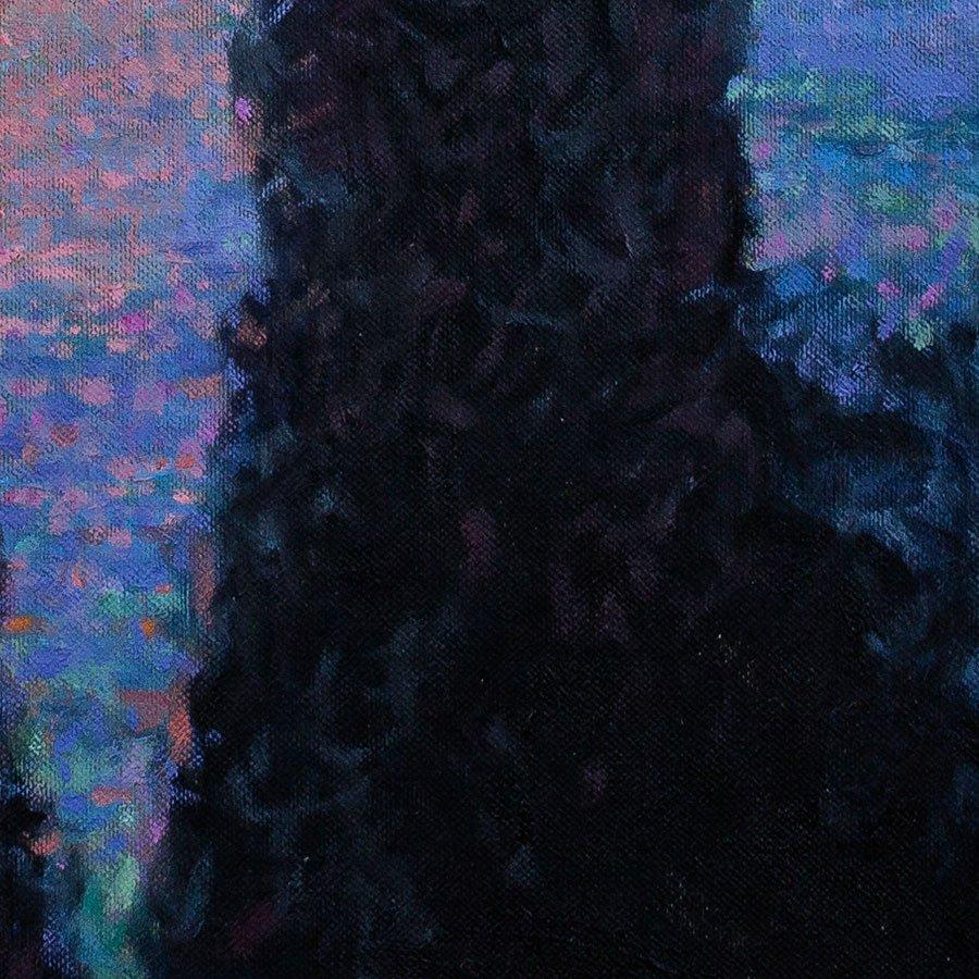 Alba sul lago di Garda, particolare, olio su tela, cm. 50 x 50