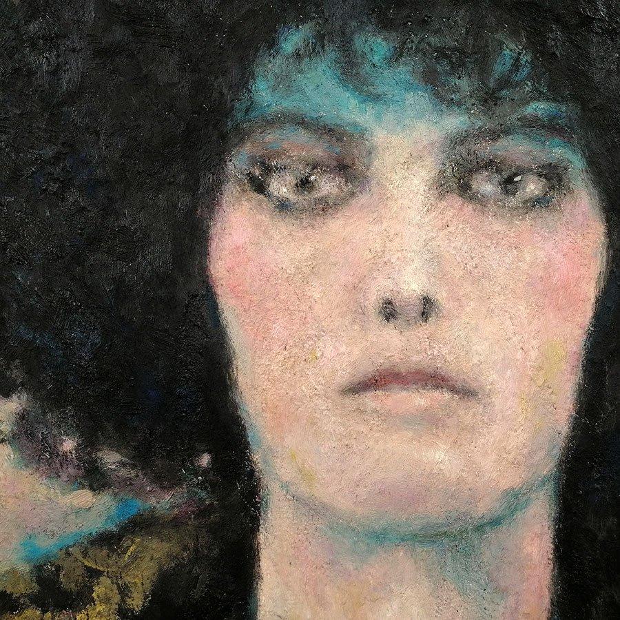Demone femminile, particolare, olio su tappeto, cm. 100 x 65 circa