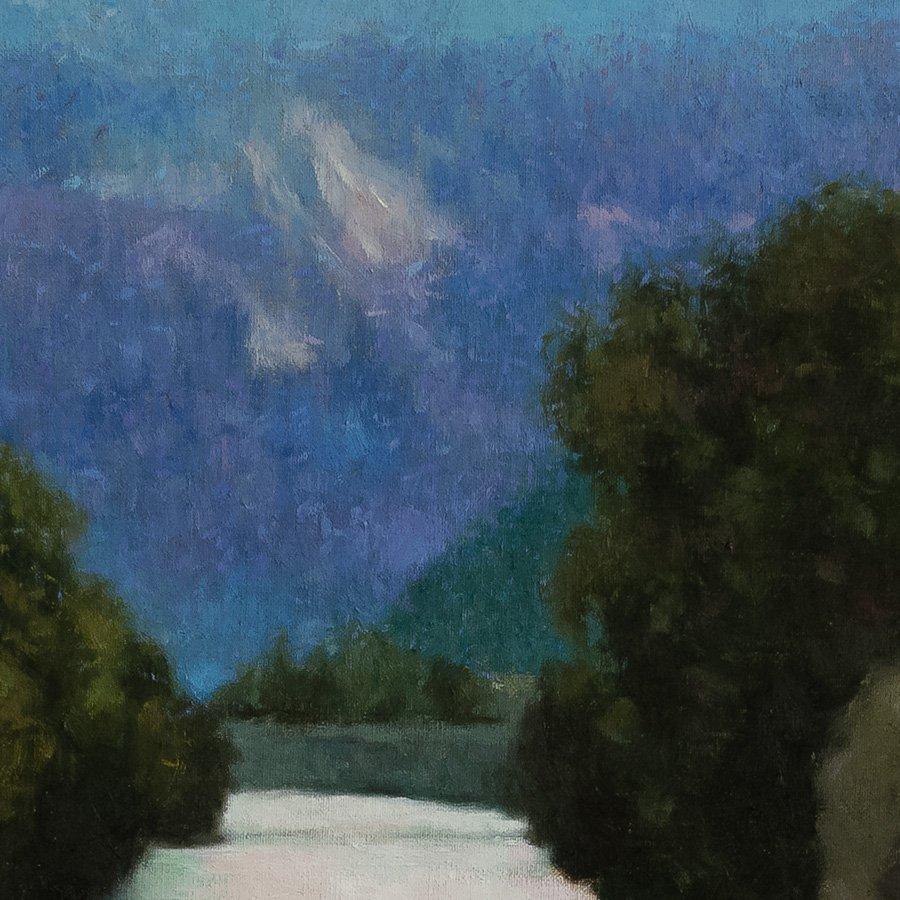 Torrente all'alba, particolare, olio su tela cm. 100 x 100, 2018
