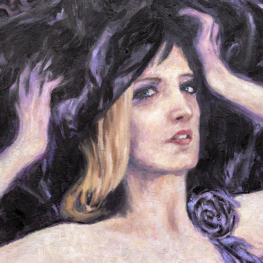 Ritratto di Alessandra Gioia, particolare, olio su broccato, 185 x 85, 2018