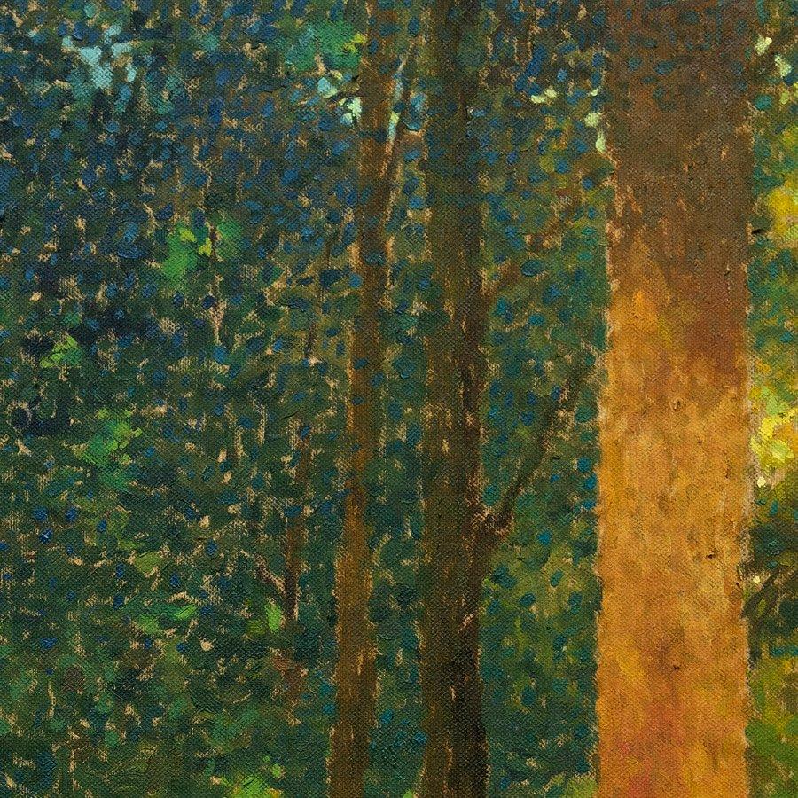 Viale di Faggi, particolare, olio su tela, cm. 100 x 100, 2019