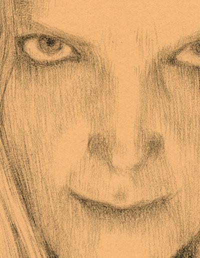Studio di Demone-Femminile, particolare del Viso, matita carboncino su carta, cm. 34 x 49, 2019