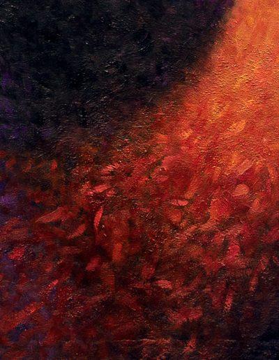 Demone Femminile II, particolare dei capelli fiamma