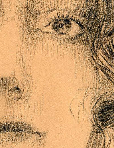Studio Femminile, particolare dell'occhio, matita carboncino su carta da scena, cm. 34 x 49, 2019