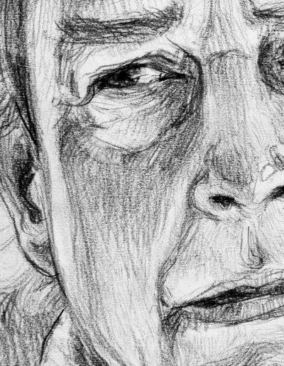 Studio del Violoncellista Frieder Berthold I, particolare del viso. Matita carboncino su carta bianca, cm. 44 x 56, 2015